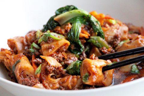 chow fun rice noodle stir fry