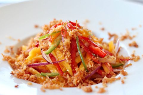 mango salad lime coconut panko